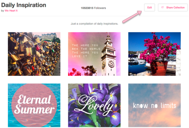 We Heart It - Daily Inspiration - Collection Description